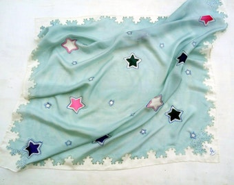 Stars scarves Square scarf Teen girl gift ideas Hand painted shawl Spring shawl Gray scarf Batik shawl Girlfriend gift birthday gift for her