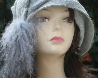 Gray Witch Hat-Witch Hats for Women-Handmade-Womens Wool Hats-Witch hat fascinator-Curly Hat-Halloween Hat-Fashion Womens Hats.