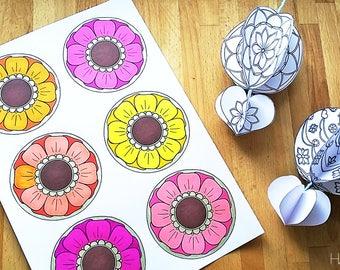 Hattifant's Mandala Hot Air Balloons Paper Craft Decoration Mobile Garland 3D Coloring