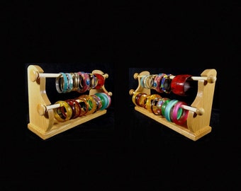 2 Wand Standing Bracelet Holder Bracelet Organizer Bracelet Storage Bracelet Display Oak