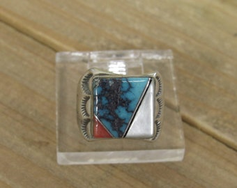 Vintage Sterling Silver Inlay Ring Size 7.75