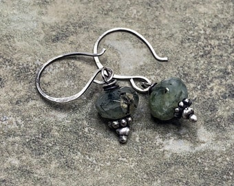 Sea Grass - Prehnite and Sterling Silver Earrings