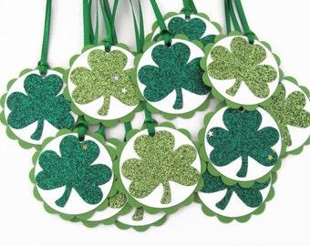 St. Patrick's Day Tags, Shamrock Tags, St. Patrick's Day Gift Tags, Glitter Shamrock Gift Tags, Irish Tags,  Clover Tags, Shamrock Gift Tags