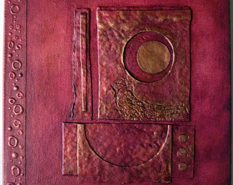 Handmade Journal Distressed Red Copper Lunar Refillable 8x8 Original