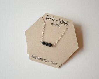 Lava Stone Necklace - Silver Bar Necklace - Essential Oils Necklace - Sterling Silver Necklace - Dainty Necklace - Bohemian Necklace - Lava
