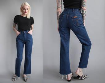 "Vtg 70s High Waist Flare Leg Jeans w/ Frayed Hem 25.5"" Waist sz S"