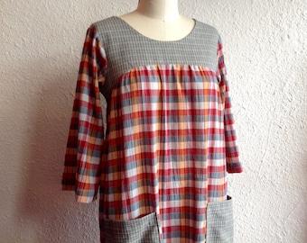 SALE Plaid on Plaid cotton smock dress Sz 2/4