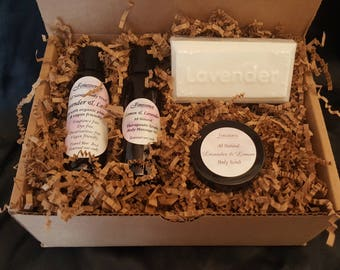 All Natural Travel Size Lavender & Lemon Bath Body Gift Set