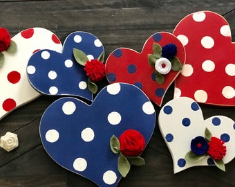 Red, White and Blue Hearts | hand painted | handmade felt flowers | Red, white & Blue | Memorial Day | 4th of July | America |  Home decor