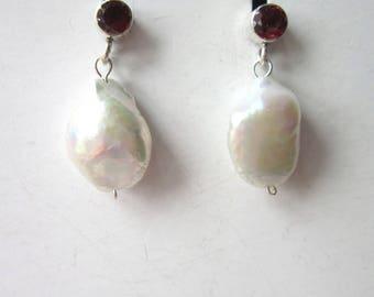 SALE earrings Baroque Pearl garnet post drop earrings SS