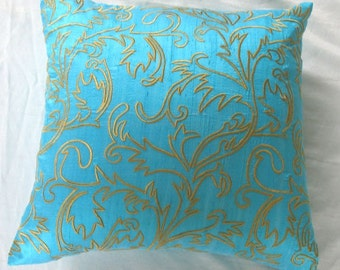 turquoise pillow cover with moroccan/marakesh inspired golden yellow embroidery custom made