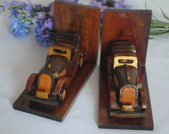 Vintage Cars Wooden Bookends