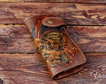 Zombie pirate carved – Custom Leather Wallet