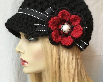 Black Crochet Womens Hat, Newsboy, Soft Chunky, Red Flower, Ribbon, Warm, Teens, Winter, Ski Hat, JE808N12