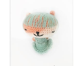 Gifts for her Amigurumi Doll Girl Panda miniature Doll Art Amigurumi