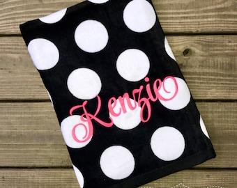 Beach Towel-Monogrammed Beach Towel-Girls Monogram Beach Towel-Pool Towel-Black Polka Dot Towel-Personalized Beach Towel