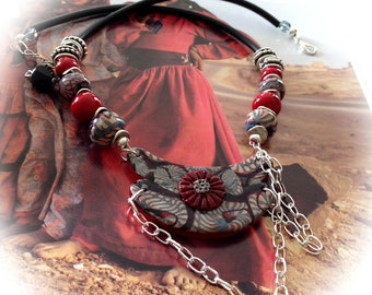 Spirit nomadic, red, gray, beige, black, bib necklace, polymer clay.