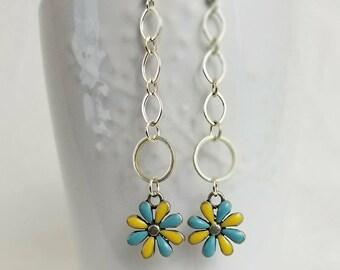 Vintage Enamel Flower drop earrings - yellow & light blue