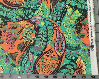 Amy Butler Jolie Green Orange Glow Collection Modern Cotton Fabric by the yard from Shereesalchemy