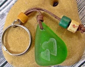 Heart Seaglass Keychain Beach Keyring Nautical Accessories Beach Jewelry Gift under 20 Gift Exchange