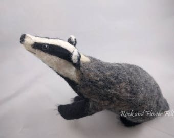 Needle Felted Animal Sculpture, European Badger