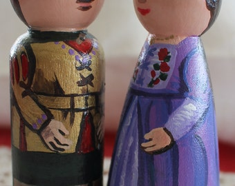 "Prince and Princess Peg Dolls - Sleeping Beauty Fairy Tale Set Large 3.5"" size"