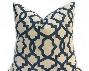 15% Off Sale Navy Pillow, Decorative Pillow, Navy Pillow cover , Tan Pillow Throw Pillow cover , Blue Pillow, Accent Pillow,  Blue Cushion C