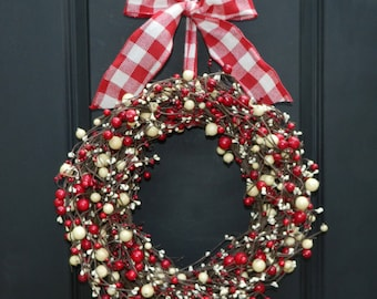 Holiday Wreath - Door Wreath - Christmas Wreath - Berry Wreath - Choose Bow