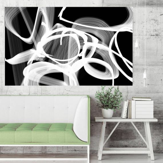 """Abstract Poetry 88-2, Black and White Contemporary Wall Decor, Large Contemporary Canvas Art Print up to 72"""" by Irena Orlov"""