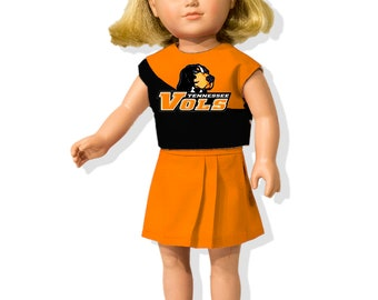 Cheerleading Outfits with Custom Logo that fit like American Girl Doll Clothes, American Boy Clothes & Other 18 inch Doll Outfits + Pom-Poms