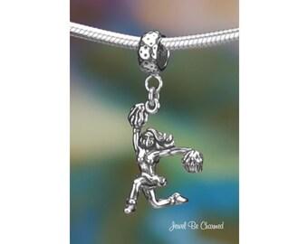 Sterling Silver Cheerleader Charm or European Style Charm Bracelet 925
