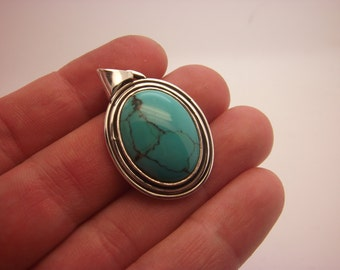 Turquoise Pendant Turquoise Necklace Turquoise Arizonas Sterling Silver Necklace Handmade Bithstone