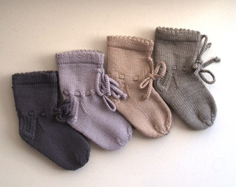 READY TO SHIP Grey Merino Wool Socks for Baby Boy or Girl, Toddler, Hand Knit Baby Accessory, Gift for New Born, Baby Shower. More colors