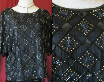 Glam Vintage '80s Oversized Sequin Beaded Black Silk Short Sleeved Blouse Shirt Sz M Medium L Large 10 12