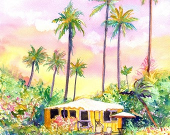 Yellow Kauai Cottage 8x10 prints from Kauai Hawaii yellow house tropical Kauai art prints Hawaiian decor Hawaii art fine art gallery