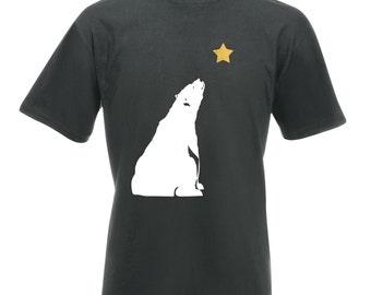 Mens Christmas T-Shirt Bear Gazing / Polar Bear Tee
