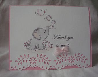 Baby Shower Thank You Cards, Set of 10, Thank You, Baby Girl, Baby Elephant blowing bubbles, Greeting Card, Handmade