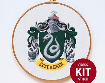 Slytherin Cross Stitch KIT, Harry Potter Cross Stitch KIT, Modern Cross Stitch KIT, Hogwarts, Counted Cross Stitch Pattern Instructions