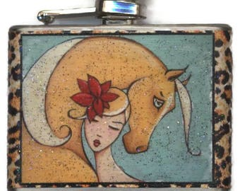 Palomino Horse Woman Flask, Gift for Her, 21st Birthday Present,Bridesmaid Maid of Honor,Equestrian Lover,Animal Print,Horseback Rider Shano