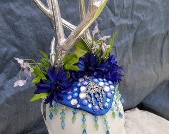 Twisted Antler Crown; Blue and Silver