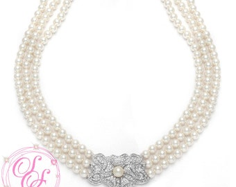 3 Strand Fresh Water Pearl Wedding Necklace