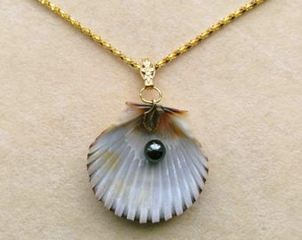 Natural Shell Pendant with Black Pearl, Non drilled Pearl, Statement Pendant, Love Ocean, Nautical - Sea Treasures Series by enchantedbeads