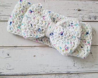 Bow Ear Warmer, Toddler Ear Warmer, Bow Headband, Crochet Bow Head Wrap, Bow Headband, Crochet Ear Warmer, Ear Warmer, Toddler, READY 2 SHIP