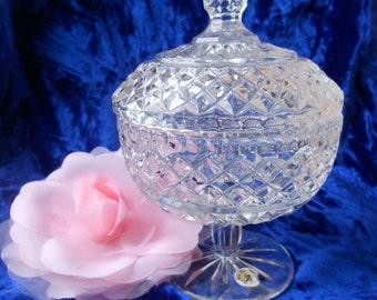 Soviet vintage crystal vase with cover Sweet vase Candy vase Fruit vase Crystal vase from USSR 1980-s