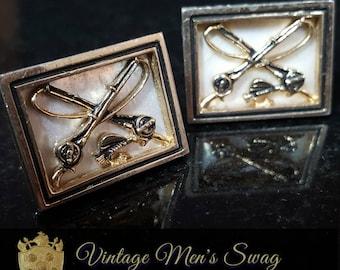 vintage cufflinks Swank fishing Mother of pearl  1950s ms12