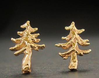 TINY 14k Tree stud(s), SINGLE or PAIR of earrings, Pine Tree, Fir Tree, Douglas fir, solid 14k gold handmade in usa