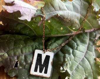 Copper Monogram Necklace on Vintage Brass Chain // Personalized // Charm // Initial Pendant // Gifts for Her // Teacher Gifts