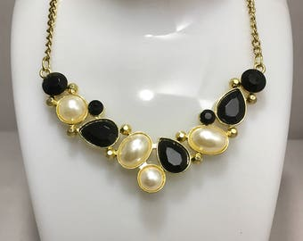 Faux Black Onyx and Pearl Gold Tone Fashion Statement Necklace - Vintage