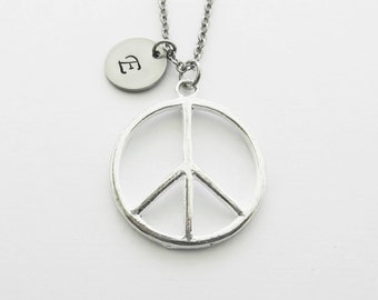 Peace Necklace, Peace Symbol, Hippie Necklace, Peace Sign, Teen Jewelry, Silver Necklace, Personalized Monogram, Hand Stamped Letter Initial