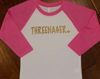 Threenager, Three Birthday Shirt, Threenager Shirt, 3rd Birthday Shirt, Gold Birthday Shirt, Third Birthday, 3rd Birthday, Birthday Shirts,